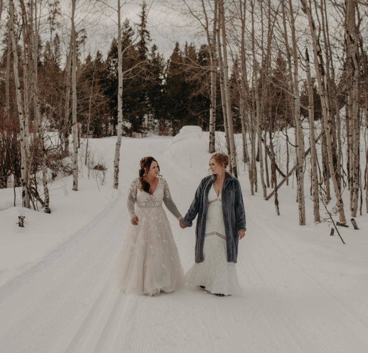 Colorado Snow Elopement Lesbian Wedding - Dancing With Her - Kelly Balch Photography