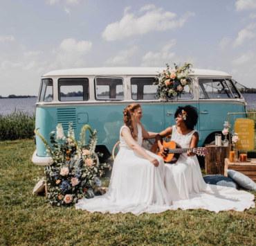 Covid Elopement - Boho-Inspired Wedding - Lesbian Wedding