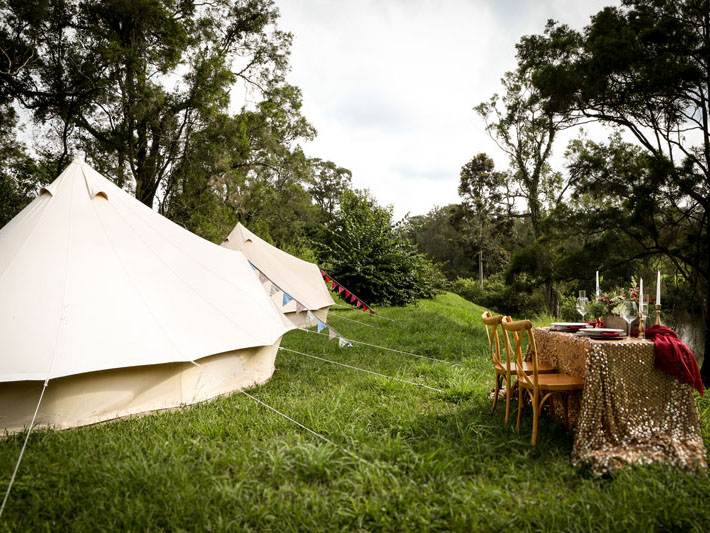 Glamping Hire Co Brisbane Gold Coast Sunshine Coast lesbian gay same-sex wedding camping bell tents tipis Dancing With Her wedding directory