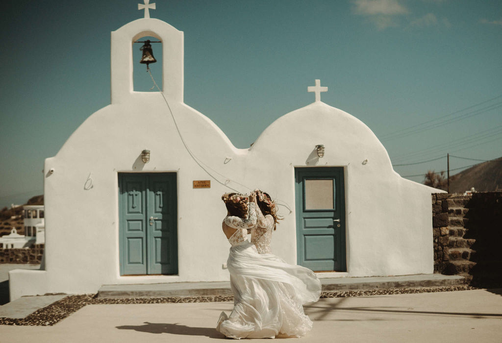 Santorini Same-Sex Elopement - Lesbian Wedding - Dancing With Her