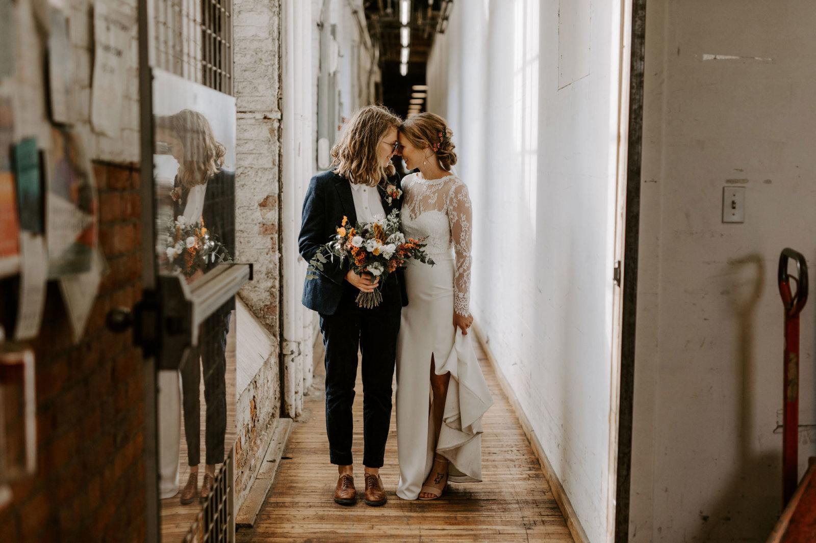 Women wearing a suit on her wedding day