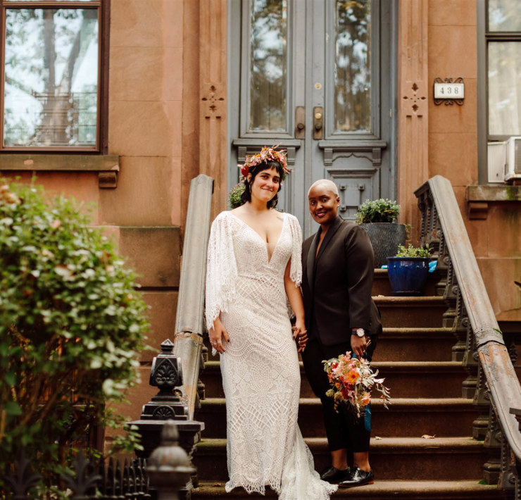 Colorful Brooklyn Stoop Wedding - Covid Wedding - Dancing With Her
