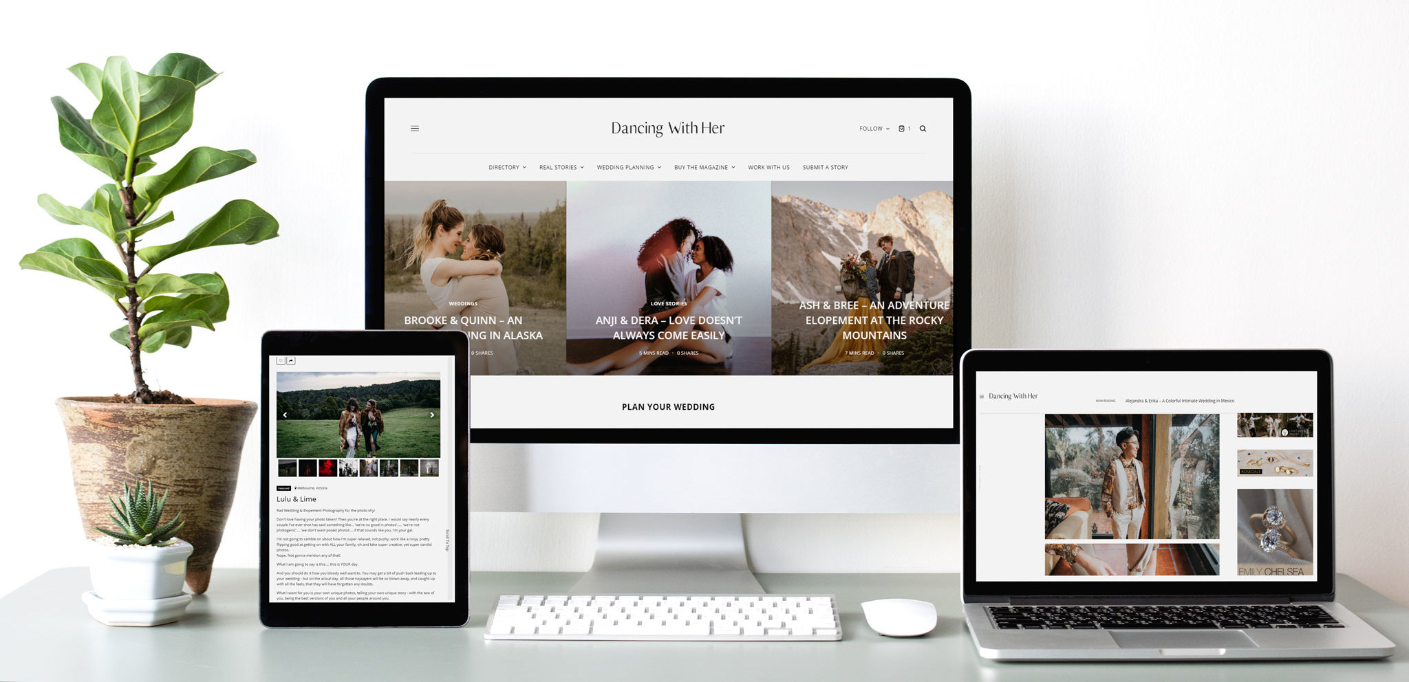 Dancing With Her Lesbian Two brides gay queer couple love wedding online directory magazine website-advertising-mockups