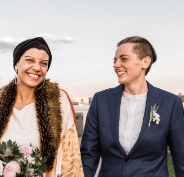 Aimlee Photography New York City rooftop lesbian elopement Dancing With Her