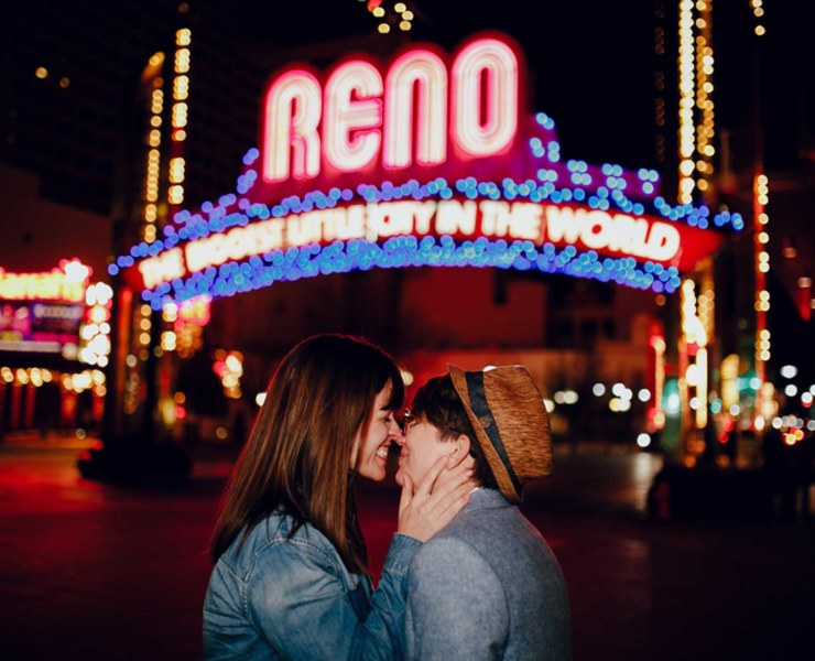 Archer Inspired Photography LGTBQ Reno Nevada Couple Wedding Engagement Photographer USA Neons Dancing With Her