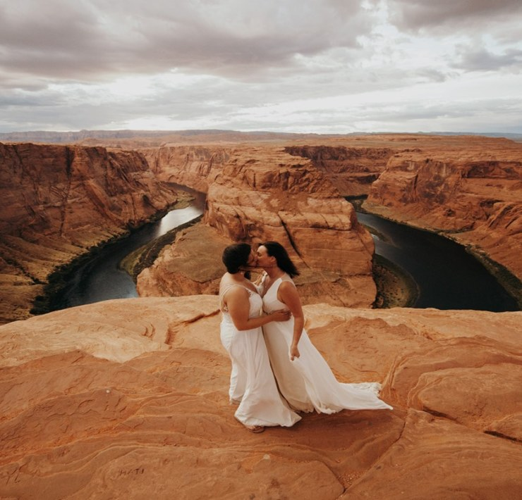Jordan Voth Arizona canyon desert lesbian same-sex couple elopement USA Dancing With Her