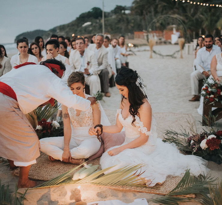 Leslie Brown Photography lesbian two bride gay couple Mexican Traditional beach wedding Dancing With Her