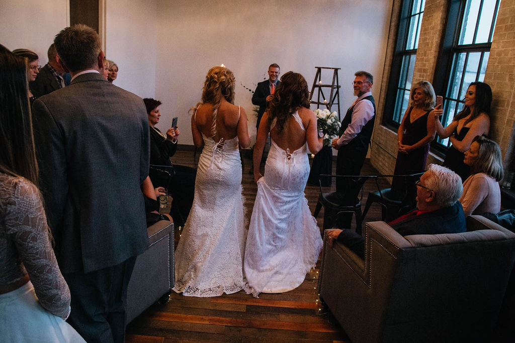 Lo Photography USA large family wedding lesbian two brides Mrs & Mrs marriage Dancing With Her directory magazine
