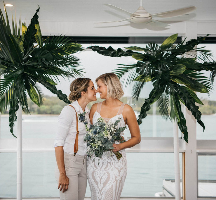 Peppermint Photography lesbian same-sex couple tropical water wedding Sunshine Coast Queensland Dancing With Her magazine