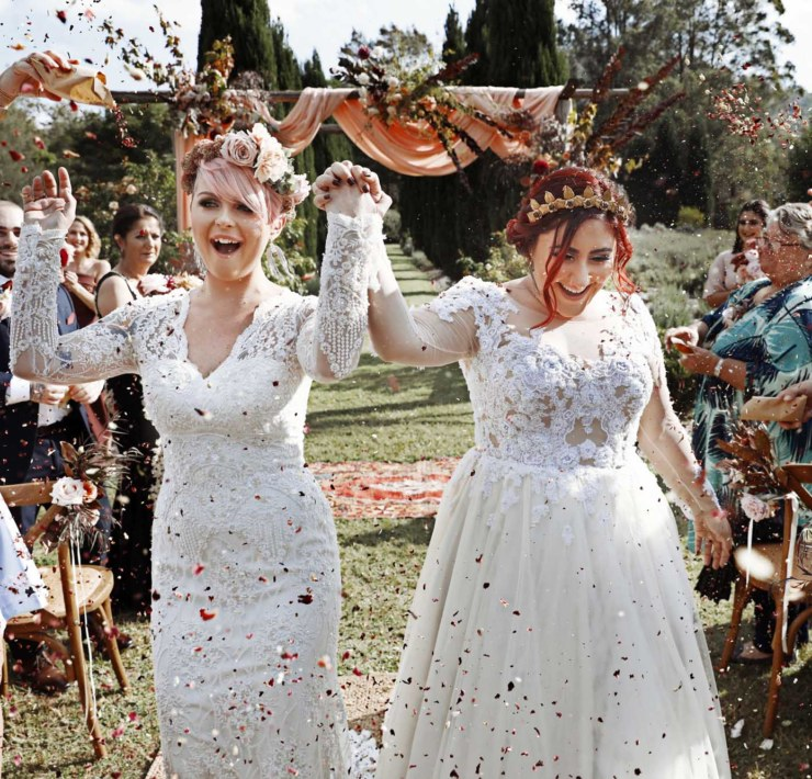 Photographer on Hermitage Hunter Valley lesbian two bride Mrs & Mrs wedding Dancing With Her magazine