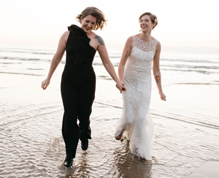 Portland Covid Beach Elopement - Same-Sex Wedding - Dancing With Her
