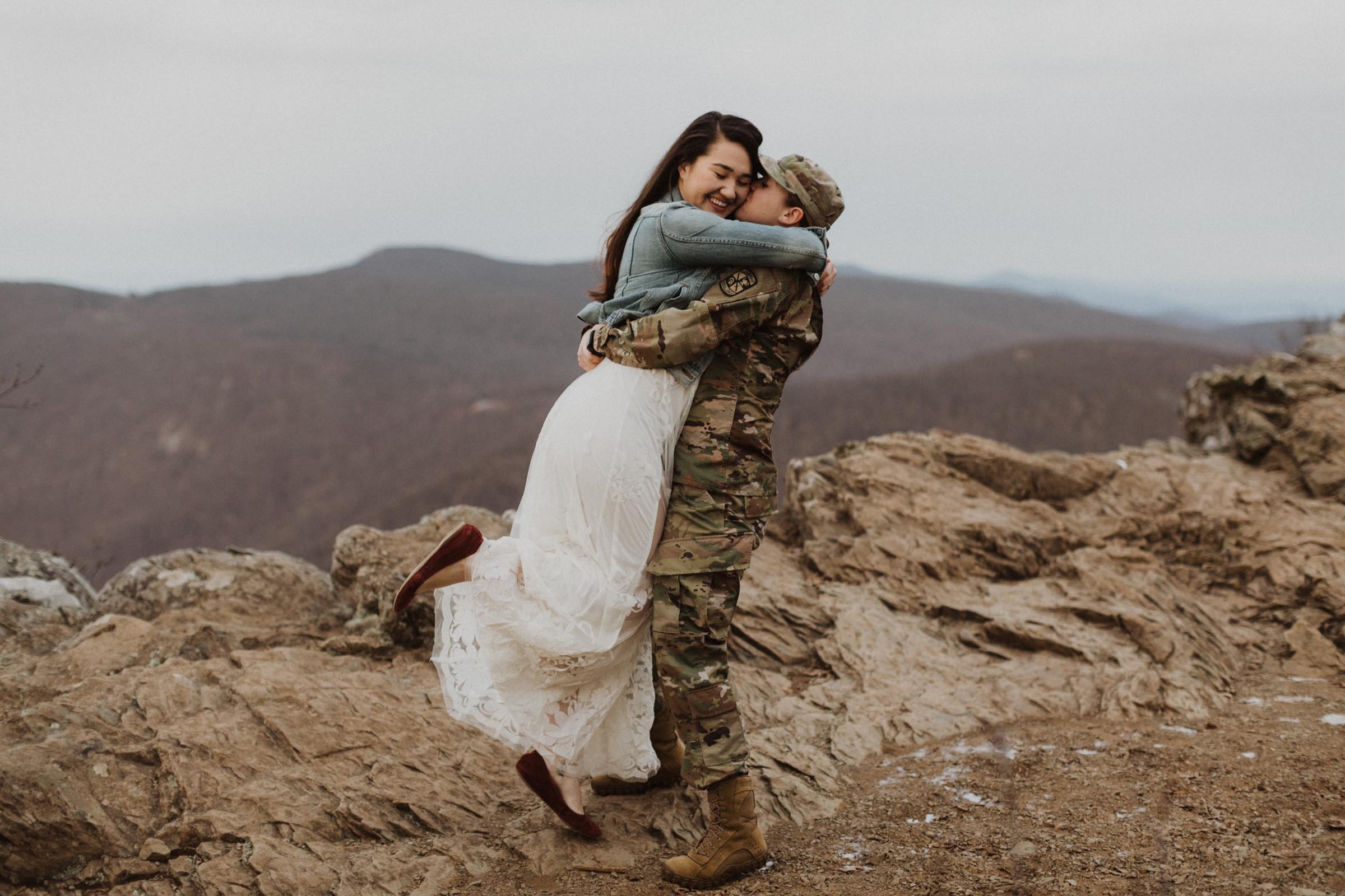 Ridge and Ramble American lesbian Military Asian engagement proposal Dancing With Her wedding magazine