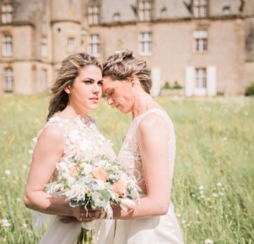 Shooting Marriage Fiona Anna by Pascal Canovas lesbian two brides Europe France elopement wedding Dancing With Her magazine