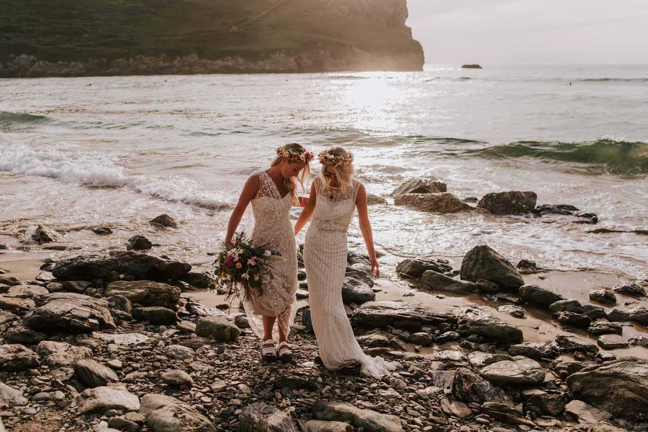 Arianna Fenton Photography two brides lesbian gay Cornwell United Kingdom wedding beach elopement Dancing With Her online directory magazine