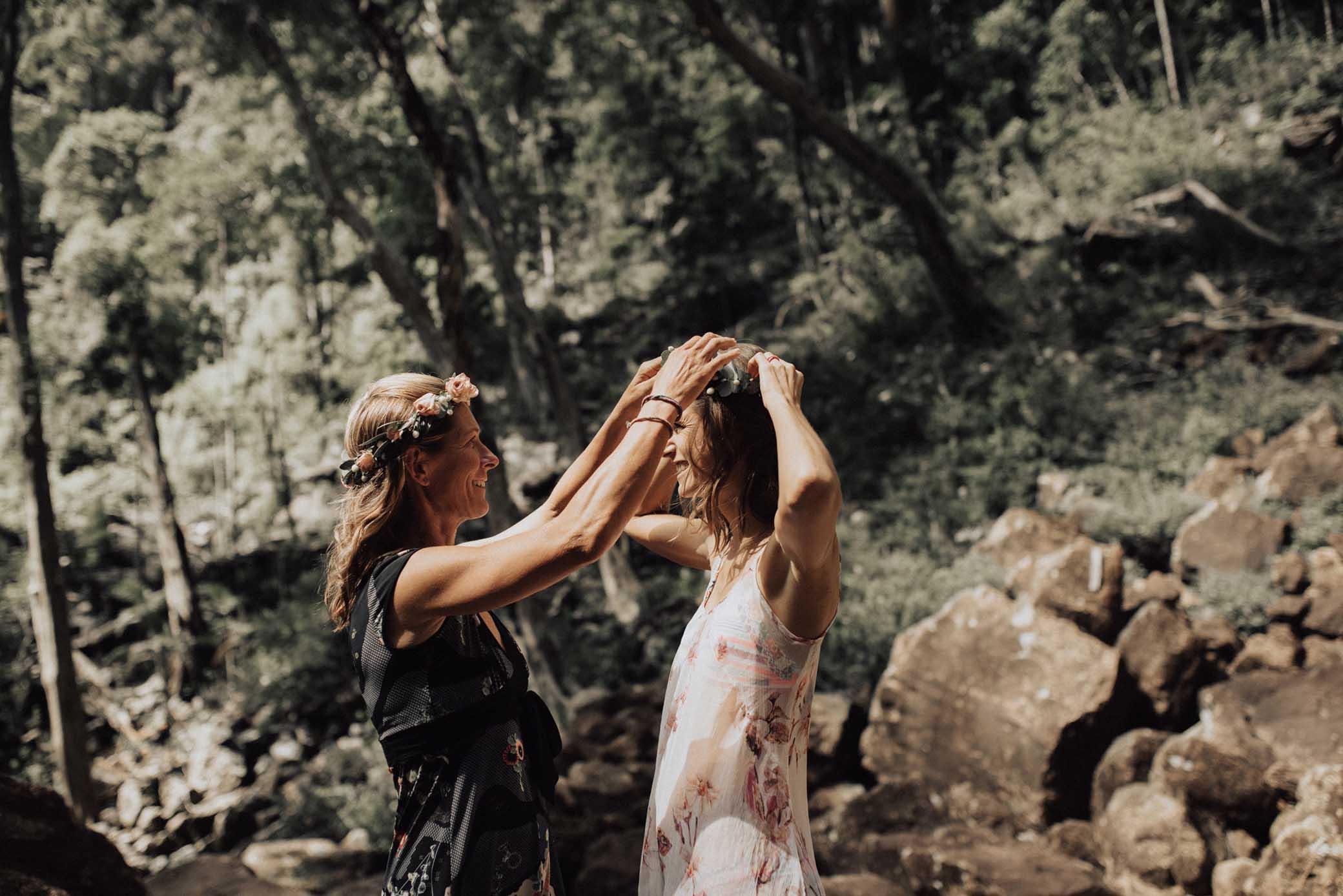 Bird & Boy Photography lesbian gay queer couple waterfall elopement wedding Byron Bay Hinterland NSW Australia Dancing With Her magazine