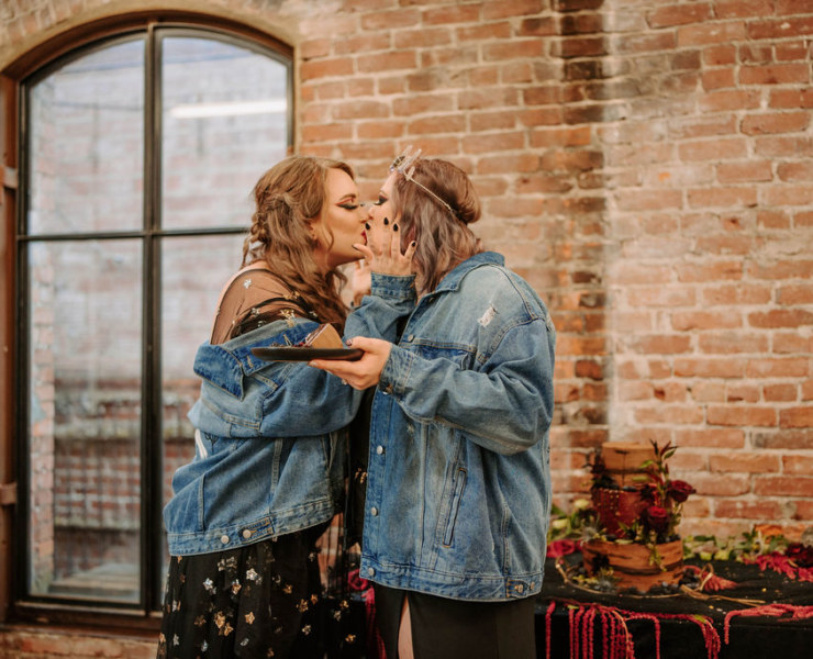 Riley Bibey Photo Blooms and Twine Floral PNW USA American lesbian queer lgbtqia spooky mystical wedding marriage Dancing With Her lesbian magazine