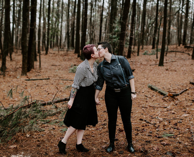 Sabrina Fattal Photography outside woods forest gay queer lesbian engagement photos America USA Dancing With Her print magazine