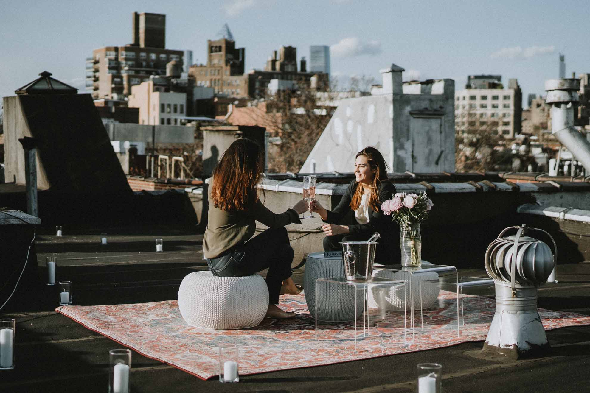 Lucie Bulois photography lesbian femme New York City USA rooftop engagement proposal Dancing With Her worldwide same-sex magazine