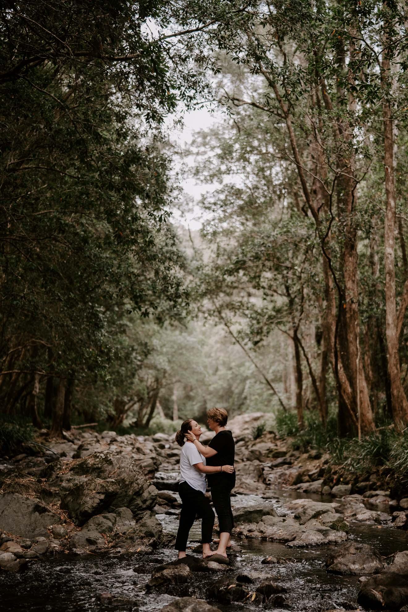 Fox & Kin photography New South Wales Australia rainforest waterfal older lesbian gay same-sex couple love photos Dancing With Her Australian magazine (1)