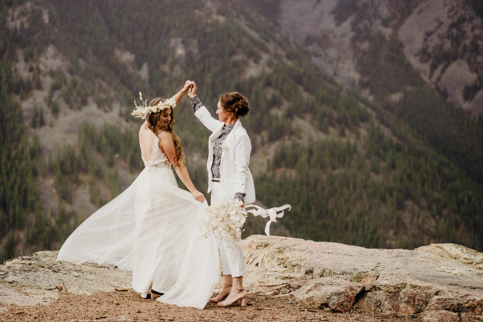 Honeybee Weddings Missoula, Montana lesbian two brides suprise proposal engagement photography lgbtq+ wedding magazine Dancing With Her (1)
