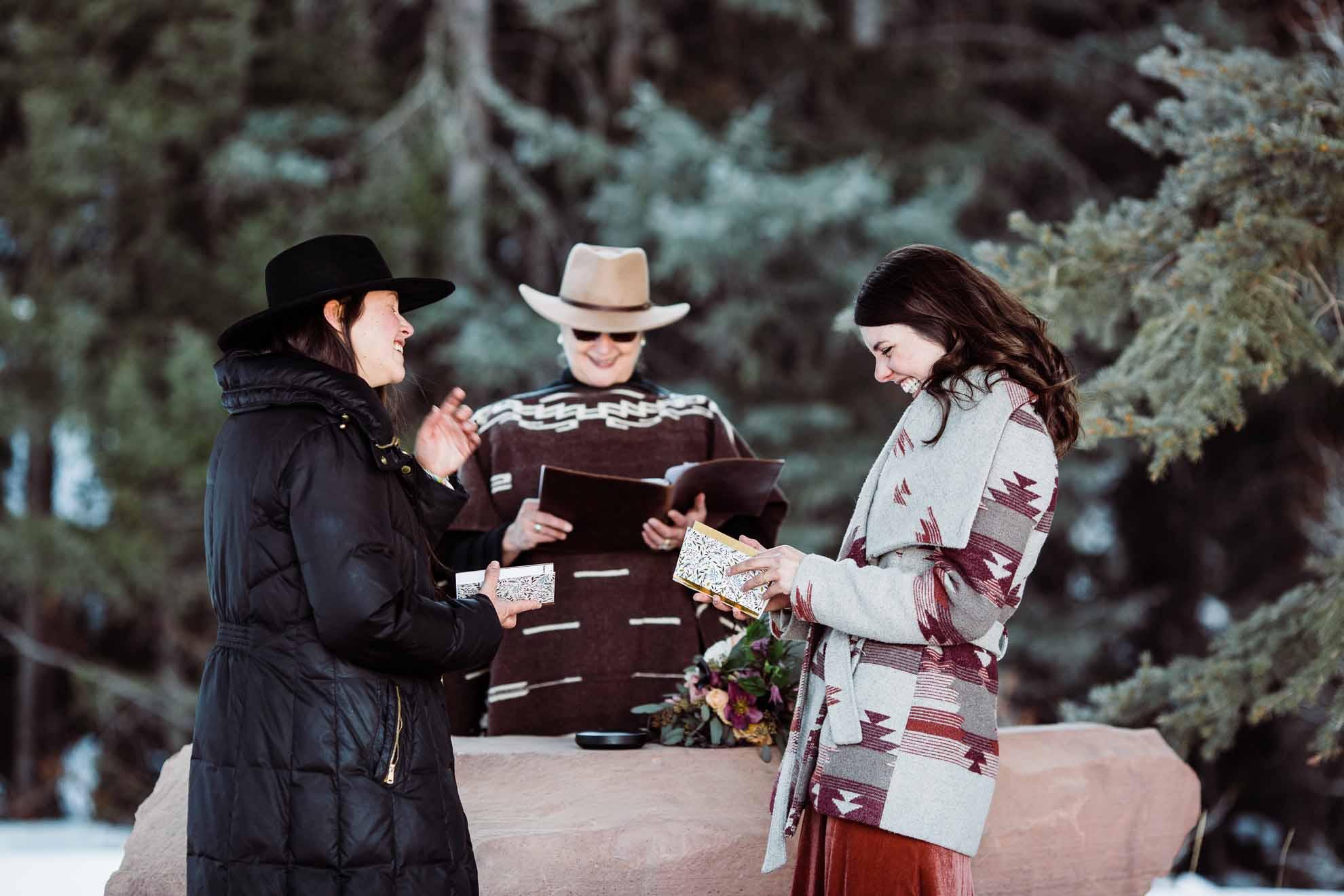 Moose Head Designs Colorado winter snow USA lesbian two bride gay wedding elopement Dancing With Her magazine