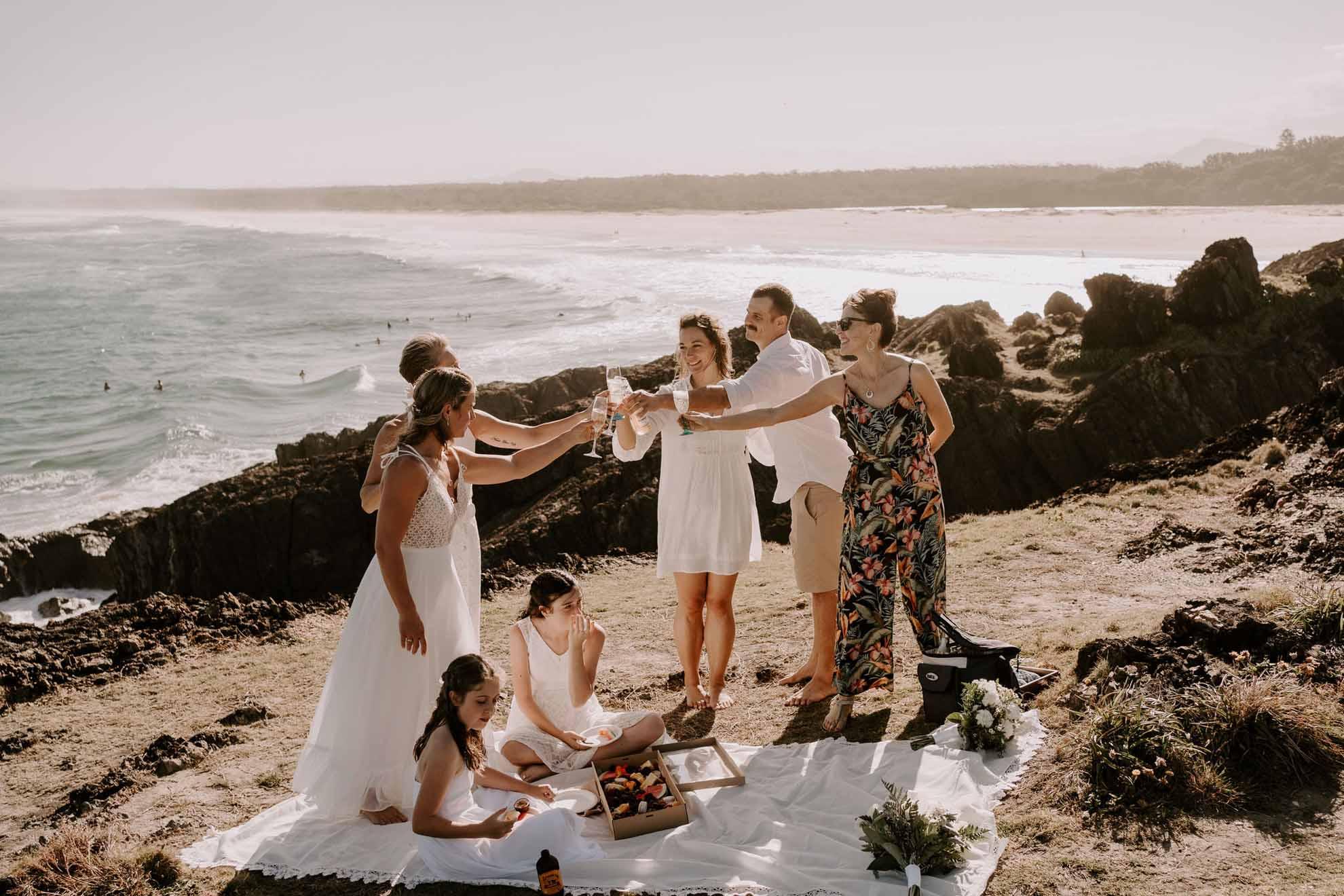 Fox & Kin photography lesbian gay lgbtq+ two brides beach covid elopement Coffs Harbor NSW Australia photos (1)