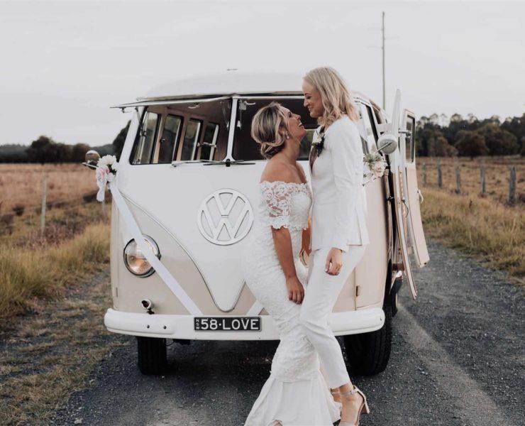 Bird and Boy Photography film lesbian gay same-sex two brides beach wedding Byron Bay NSW Dancing With Her