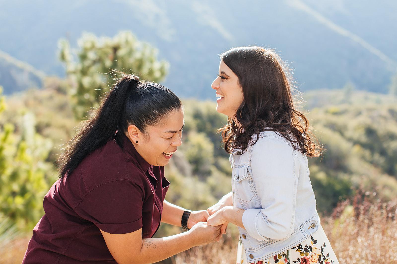 Erin Marton Photography lesbian gay LGBTQIA+ USA mountain engagement proposal Dancing With Her