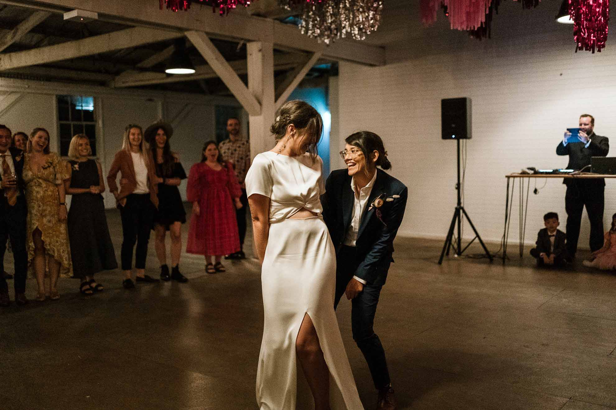 Gold-and-Grit-Photography Footscray Victoria lesbian gay queer LGBT+ couple covid wedding elopement Dancing With Her magazine
