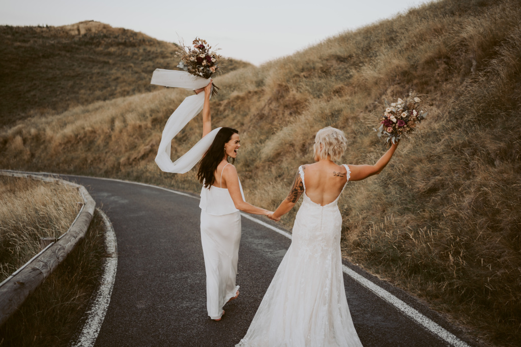 Photography by David Le lesbian gay same-sex two brides New Zealand wedding Dancing With Her worldwide magazine and online directory