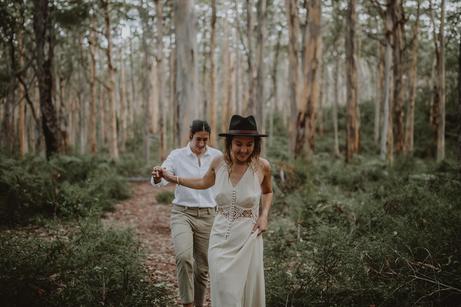 Emma Macaulay photography lesbian gay same-sex two brides forest bush elopement Margaret River Western Australia