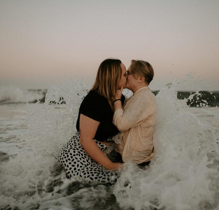 Yazi Davis photographer queer lesbian lovers beach anniversary photos Dancing With Her magazine America