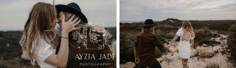 Ayzia Jade Photography gay LGBTQIA+ couple photography lesbian beach engagement Perth Western Australia Australia Dancing With Her vendor website badge