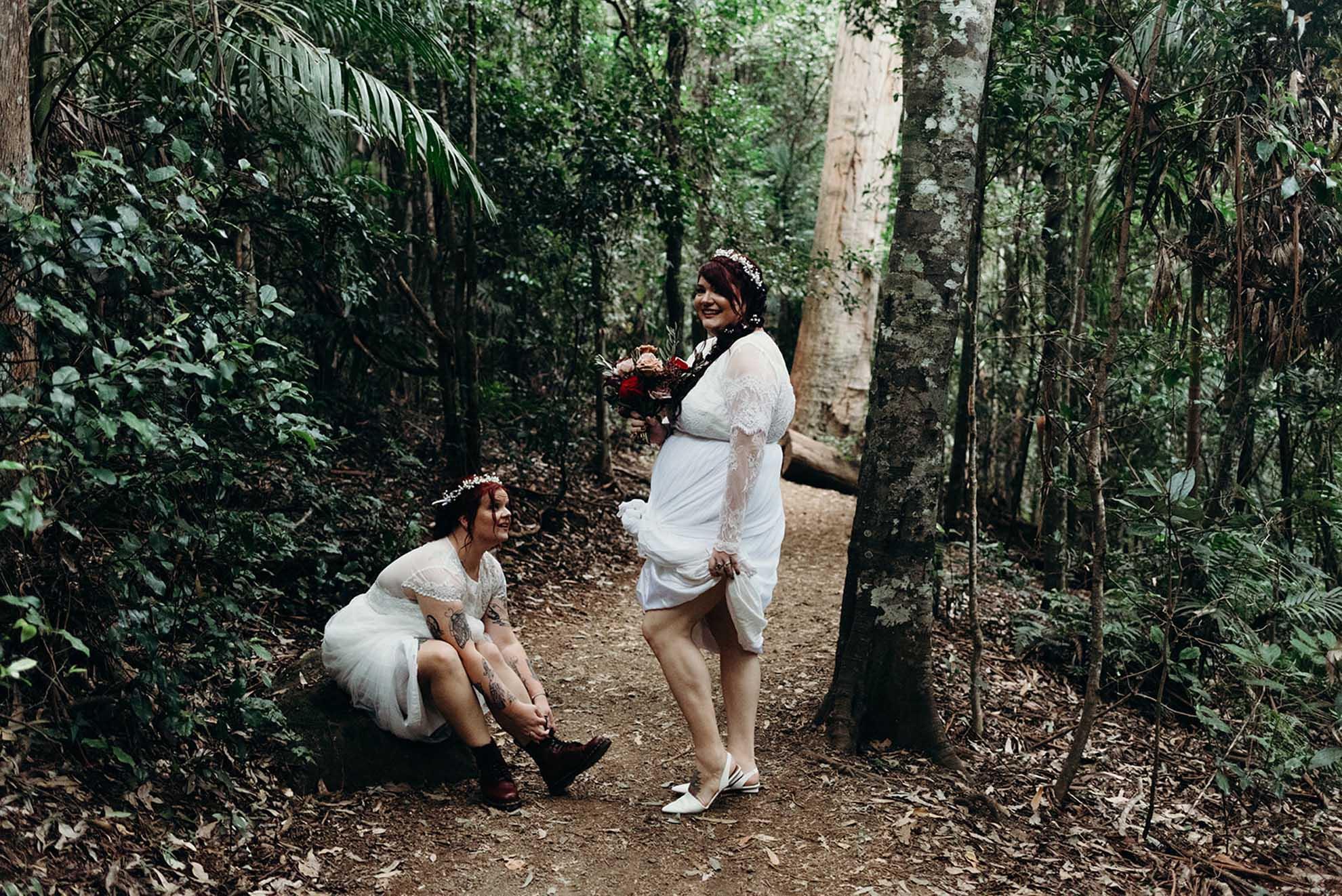 Daphne Sky Studios Mount Tamborine Scenic Rim Gold Coast lesbian gay same-sex covid-19 wedding elopement Dancing With He
