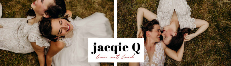Jacqie Q Photography lesbian gay two brides mrs _ mrs wedding USA Dancing With Her worldwide magazine DWH vendor website badge